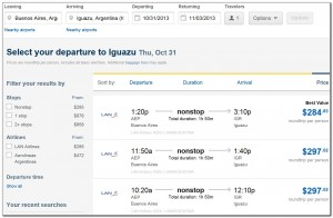 Booking Flights Buenos-Aires Iguazu Expedia 16. 07. 2013 001
