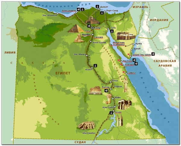 Map Visitor attractions in Egypt
