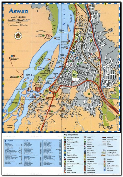 Map Visitor attractions in Egypt Aswan