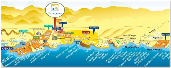 Map Visitor attractions in Egypt Sharm el Sheikh
