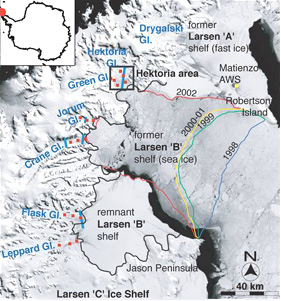 Отступление ледника Ларсен Б за 6 лет, начиная с 1998 года.  Спутниковая фотография сделана  1 ноября 2003 года