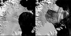 В период с 31 января (слева)  по 5 марта (справа) 2002 года  от шельфого ледника Ларсен Б  откололся кусок размером  с штат Род-Айленд