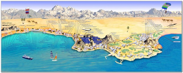 Map Visitor attractions in Egypt Hurgada 1