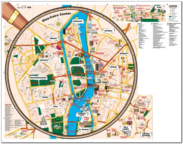 Map Visitor attractions in Egypt downtown Cairo