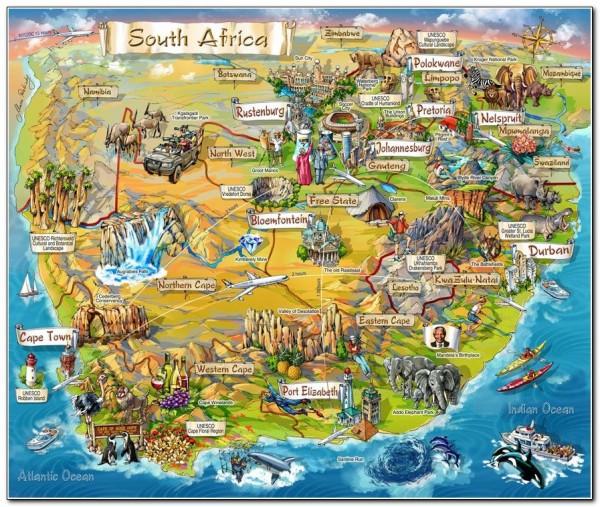 Sourh Africa map tourist