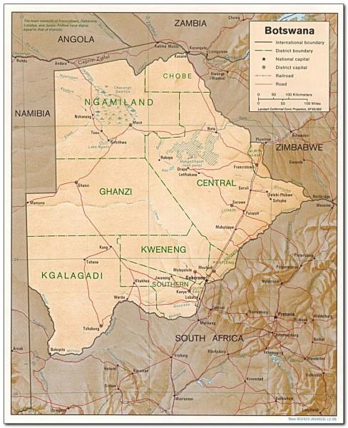 botswana map africa